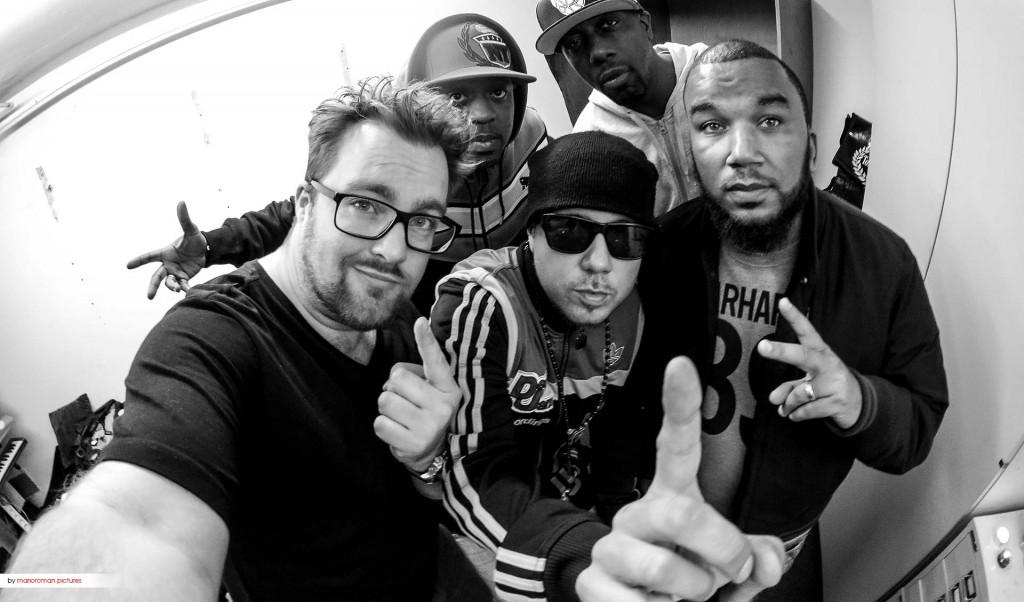 DJ Tomekk, Inspectah Deck, Cappadonna, Joe Young und der Interviewer Mario-Roman Lambrecht