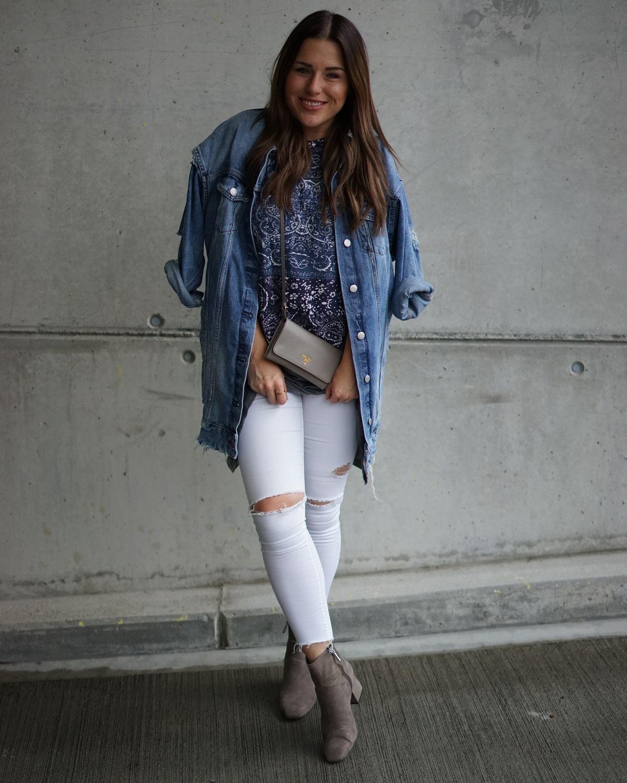 Sabrina, Verve Fashion<br /> Jeansjacke und Schuhe: Zara / Pulli und Shirt: Mango / Hose: Topshop / Tasche: Prada