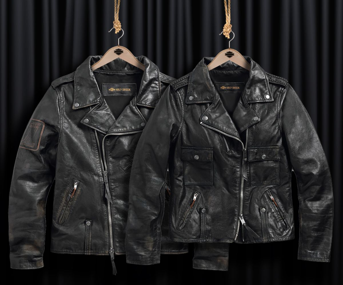 """Harley-Davidson """"Master Distressed Slim Fit Leather Biker Jacket"""" für Ihn und """"Wild Distressed Leather Biker Jacket"""" für Sie"""