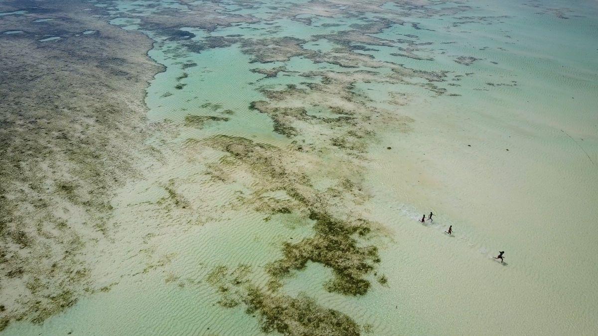Mahé – Waten im flachen Wasser eines Riffs von Au Cap