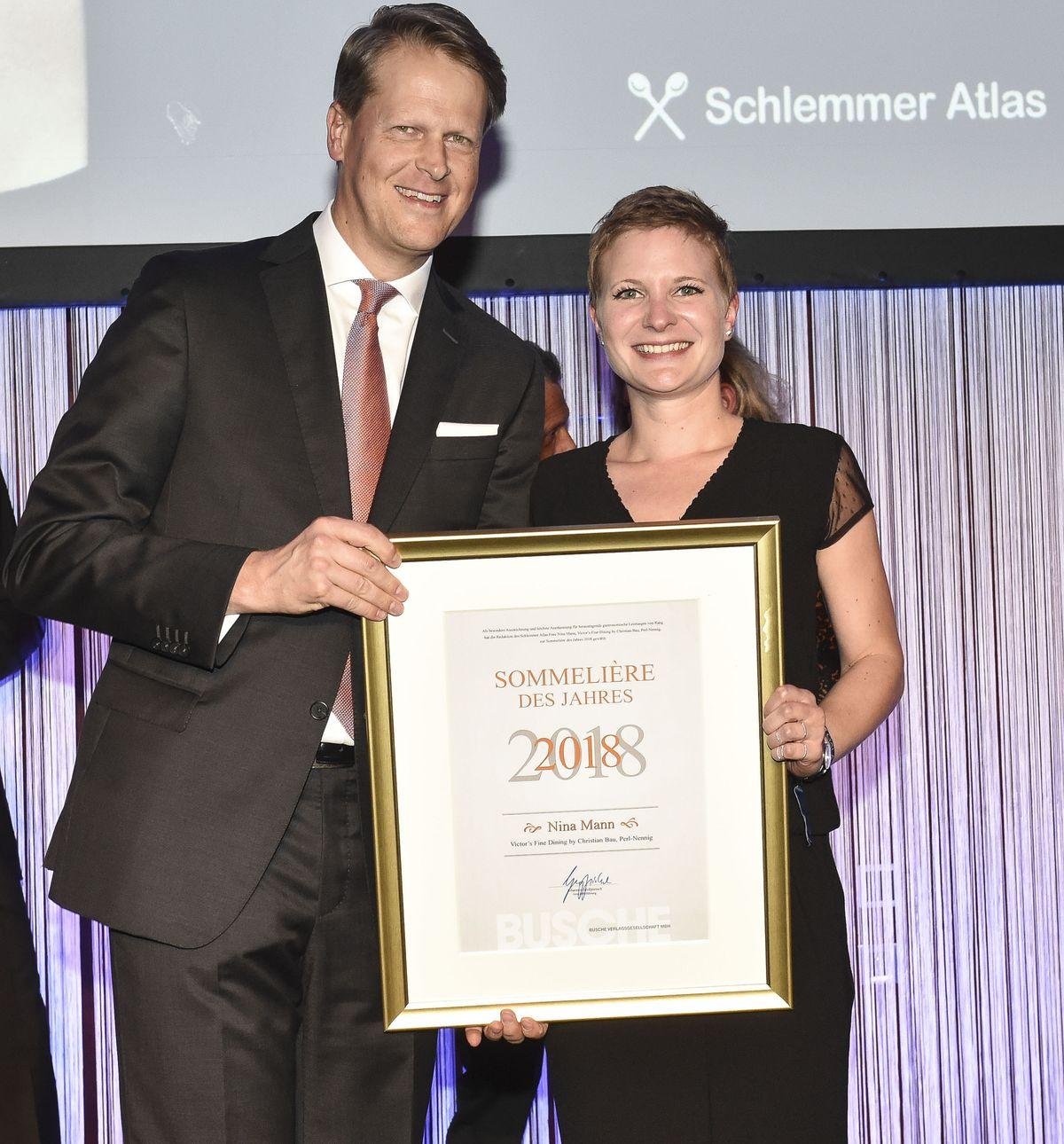 Johannes Großpietsch (Busche Verlagsgesellschaft), Nina Mann (Sommeliére des Jahres 2018)