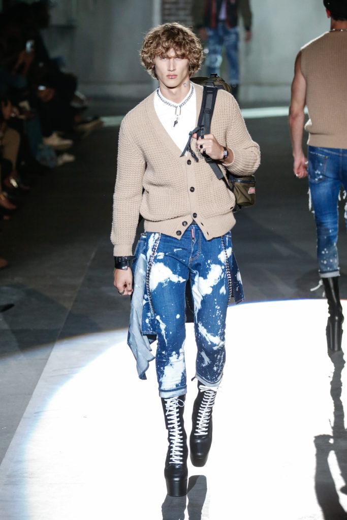 Milan Fashion Week Spring 2017: Strickjacke zur verwaschenen Jeans bei Dsquared2