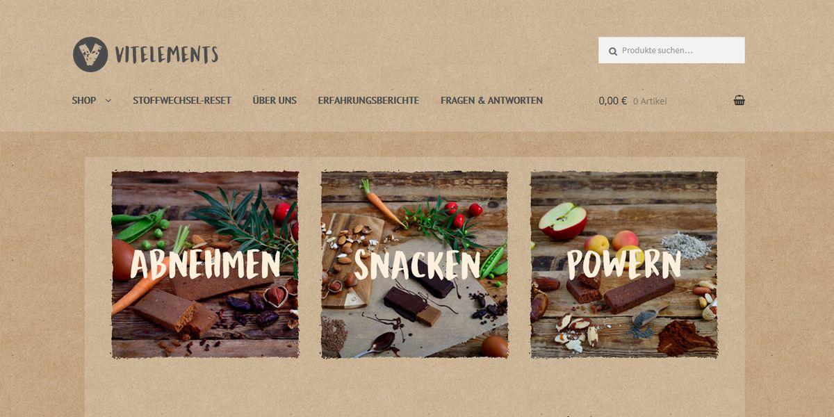 Vitelements: Online-Shop mit Metabolic Bars gelauncht