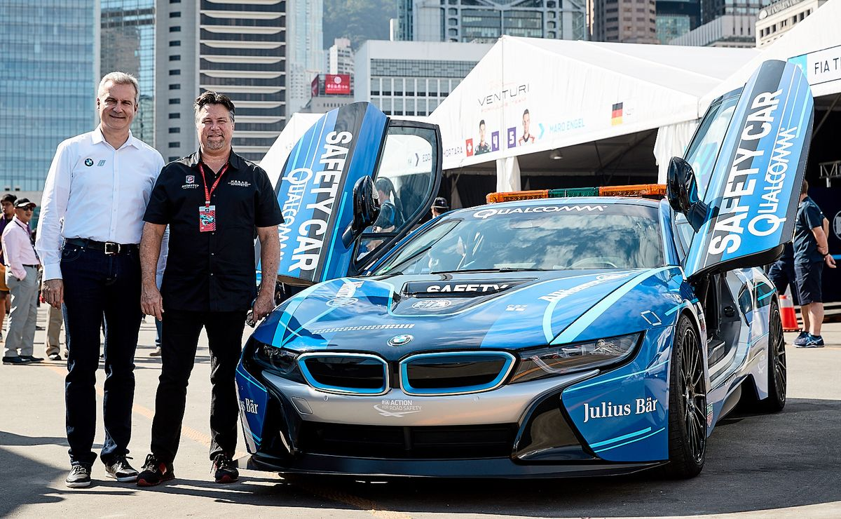 Jens Marquardt, Michael Andretti, BMW i8 Safety Car