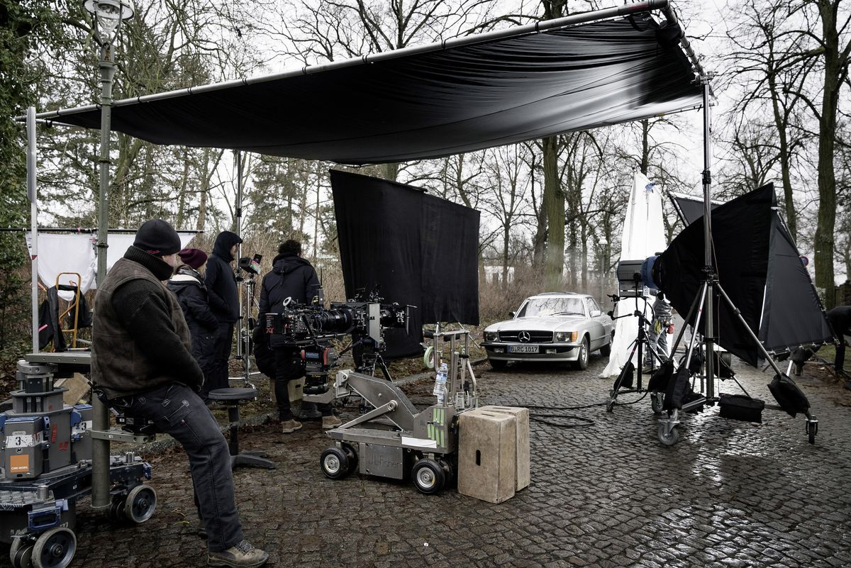 "Dreharbeiten zu ""Hot Dog"" mit Mercedes-Benz SLC Coupé"