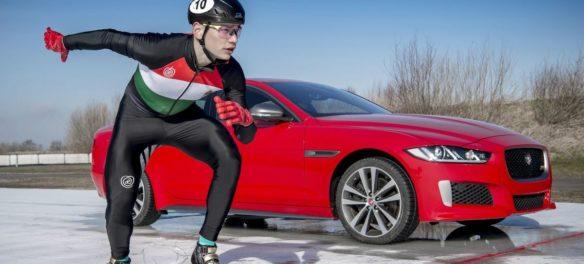 Automobil gegen Speed Skater