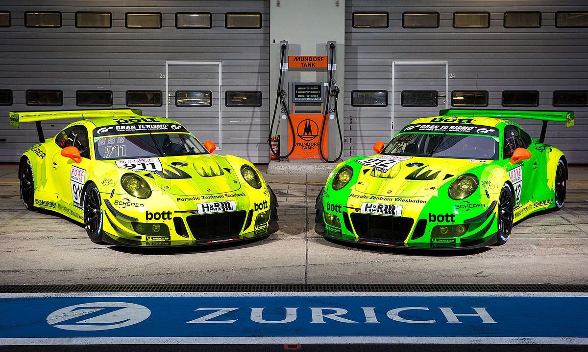 Manthey-Racing, Porsche 911 GT3 R (911), Porsche 911 GT3 R (912), Nürburgring 2018