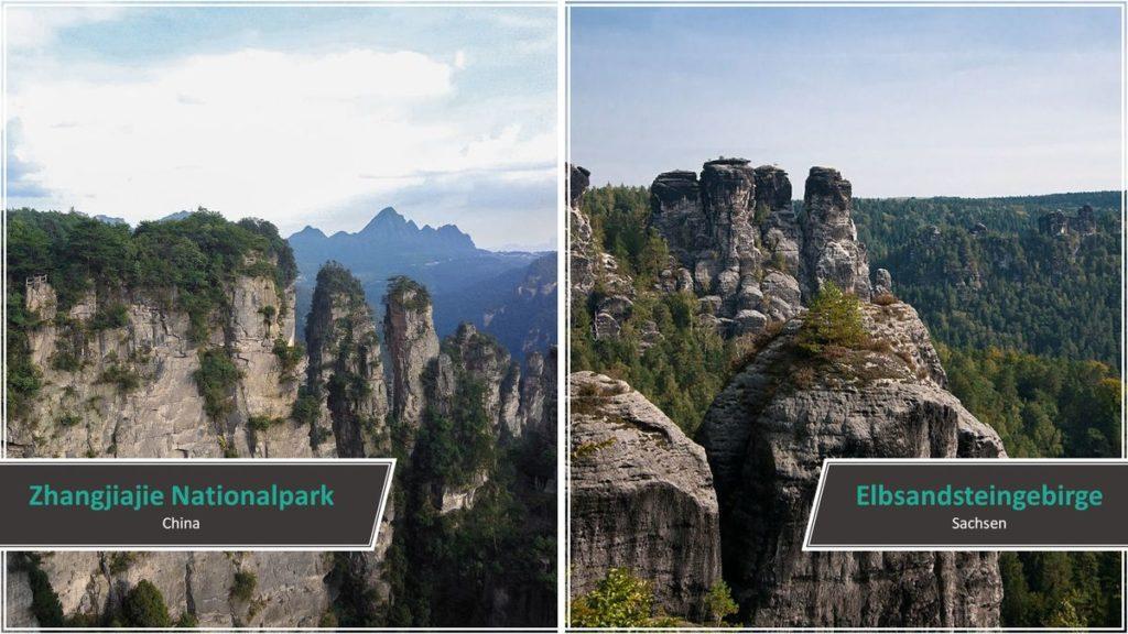 Zhangjiajie Nationalpark vs. Elbsandsteingebirge