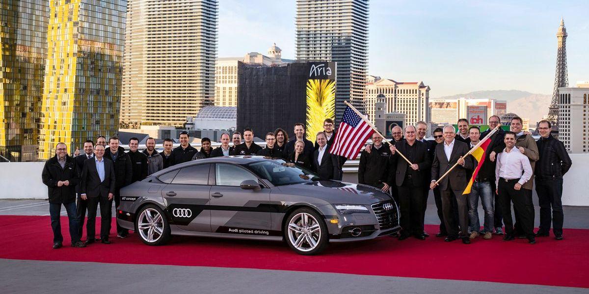 Autonomes Fahren: Audi A7 Piloted Driving Concept bei der CES nach der Fahrt aus dem Silicon Valley nach Las Vegas
