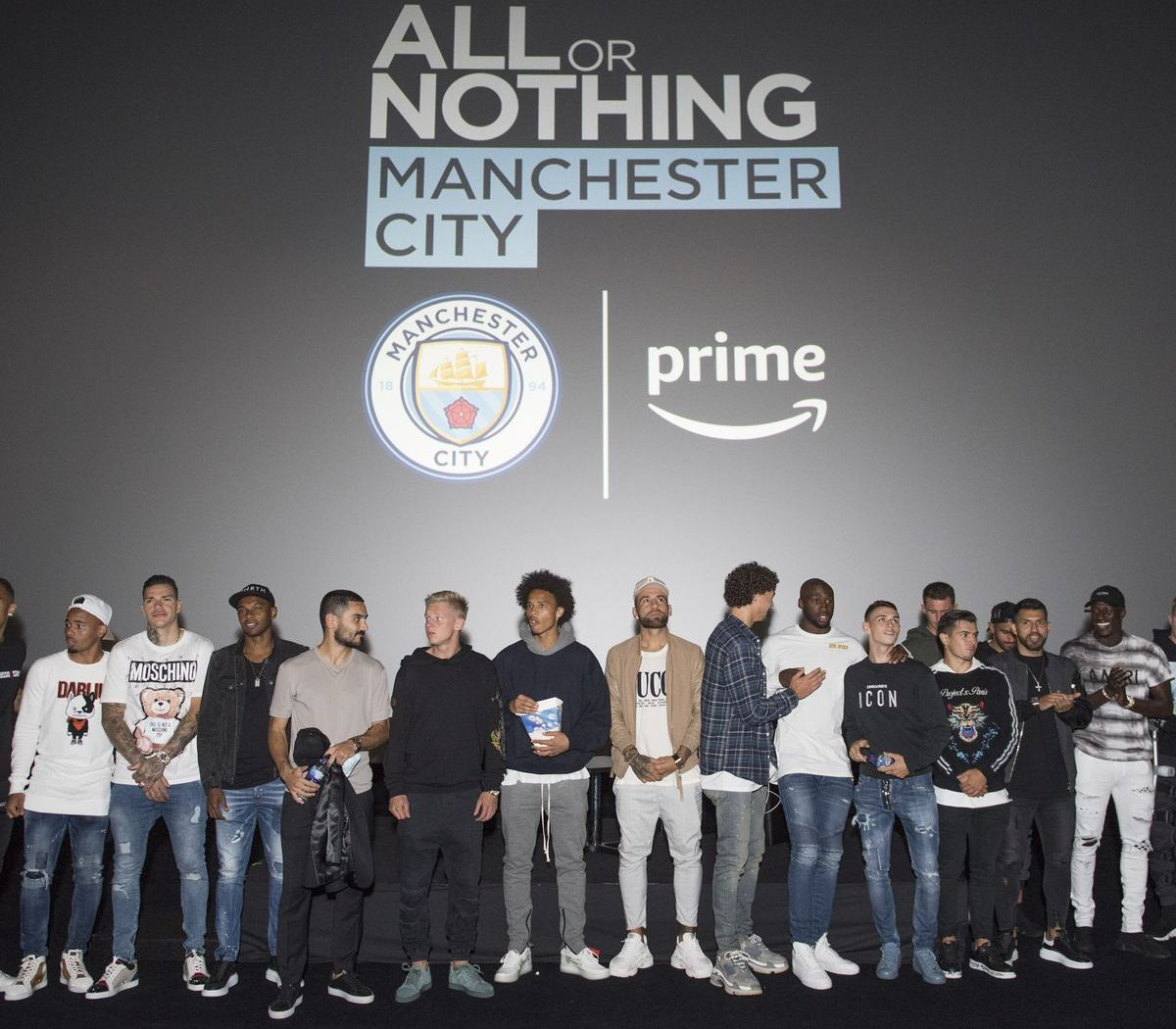 "Die Mannschaft von Manchester City bei der Premiere des Prime Originals ""All or Nothing: Manchester City""."