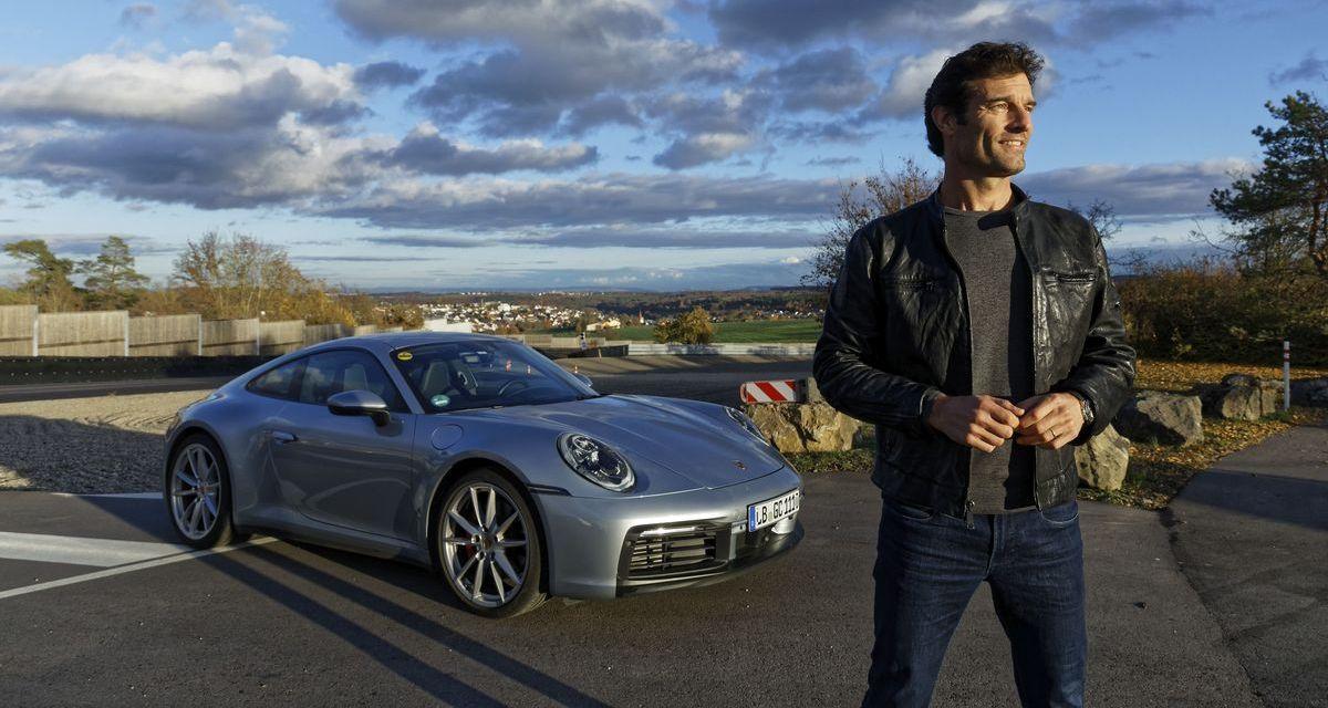 Mark Webber mit dem neuen Porsche 911 (992)