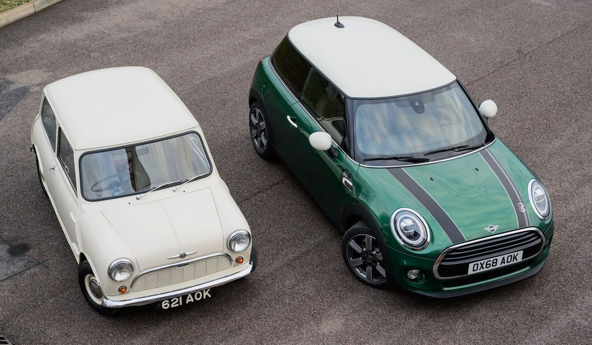 "Morris Mini Minor von 1959, Mini ""60 Years Edition"" von 2019"