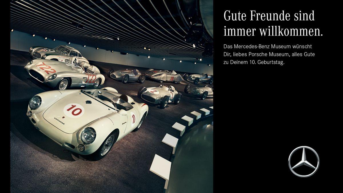Porsche erhält Geburtstagsgrüße von Mercedes