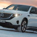 Mercedes-Benz EQC: Elektroauto über das Eis gedriftet