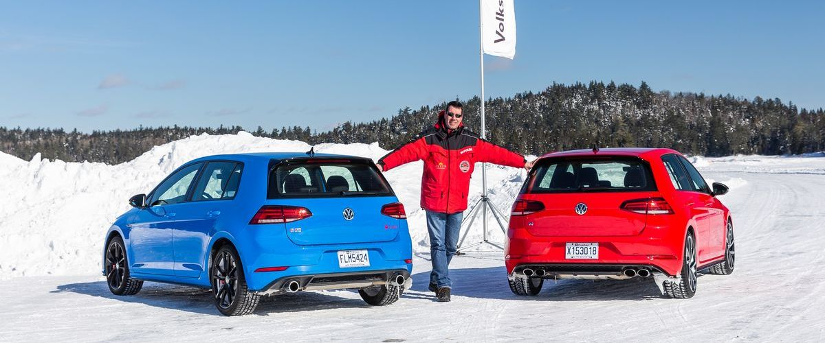 Autor Tim Westermann beim Volkswagen Ice Drive Québec.