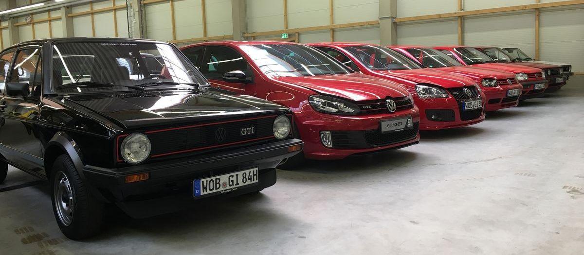 Volkswagen Classic Depot: Sechs Generationen VW Golf GTI.