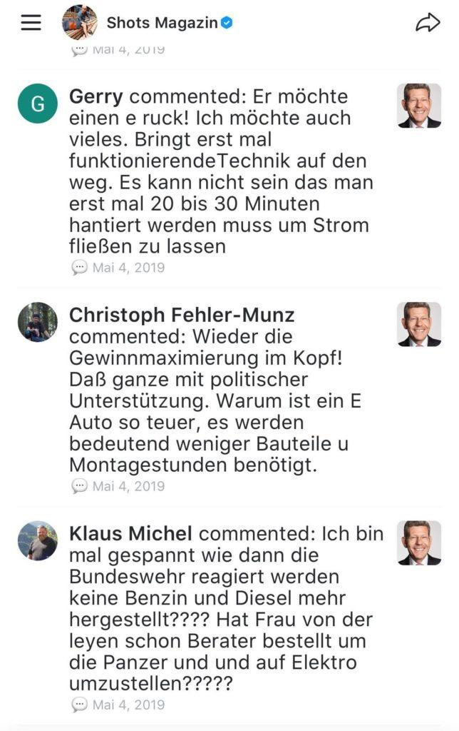 Kommentare über Elektroautos bei News Republic