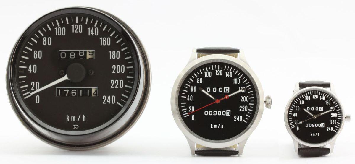 Uhren mit dem Design des Tachometers der legendären Kawasaki Motorräder.