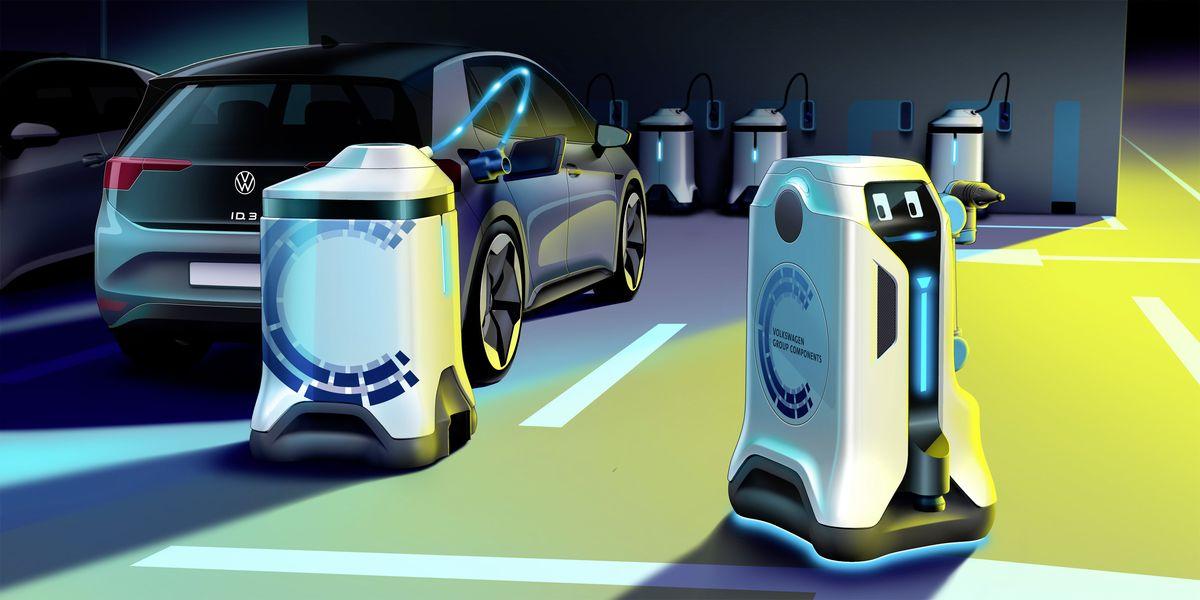 Studie eines mobilen, robotergesteuerten Ladesystems von Volkwagen Komponente