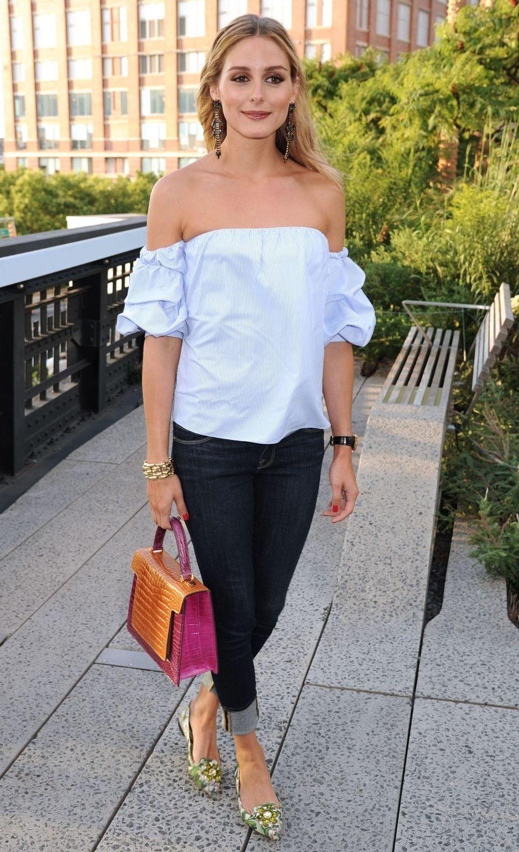 Olivia Palermo trägt ein Carmen-Oberteil (ddp images)