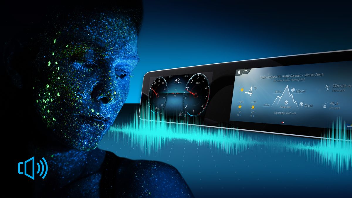Das Mercedes-Benz-Multimediasystem MBUX liest auf Wunsch den Wetterbericht für bestimmte Regionen vor und duzt den Fahrer.