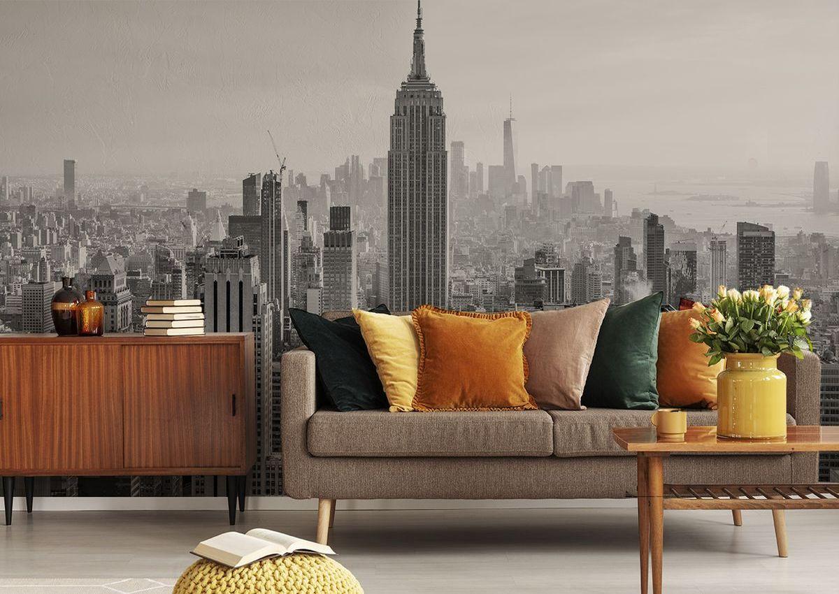 Fototapete New York Empire State Building im Retro-Wohnzimmer