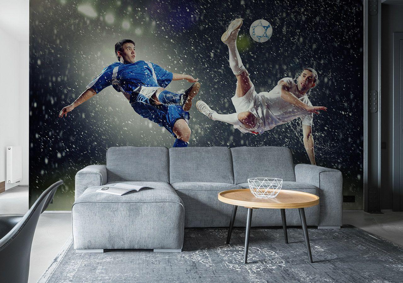 Wohnzimmer mit Fototapete Fußballspieler